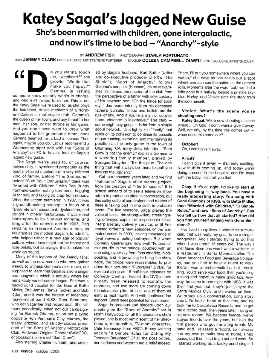 Katey Sagal Interview | By Andrew Fish | Venice Magazine, October 2008 | Page 1