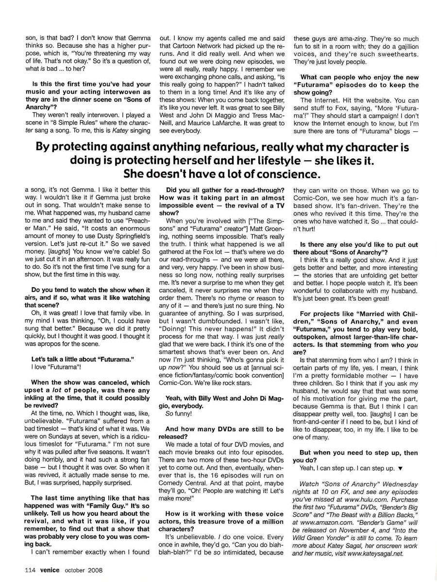 Katey Sagal Interview | By Andrew Fish | Venice Magazine, October 2008 | Page 7